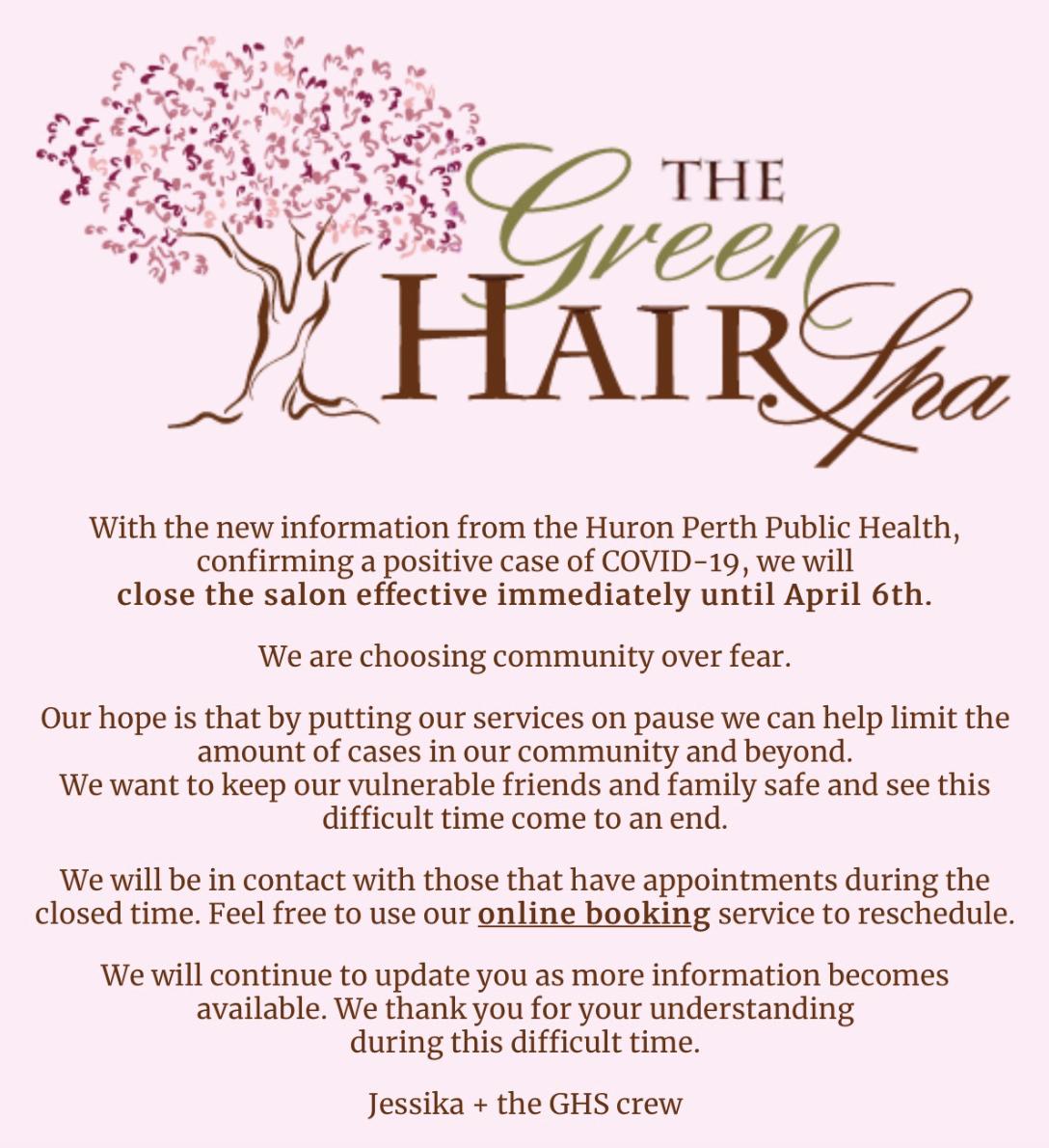The Green Hair Spa COVID-19 Update